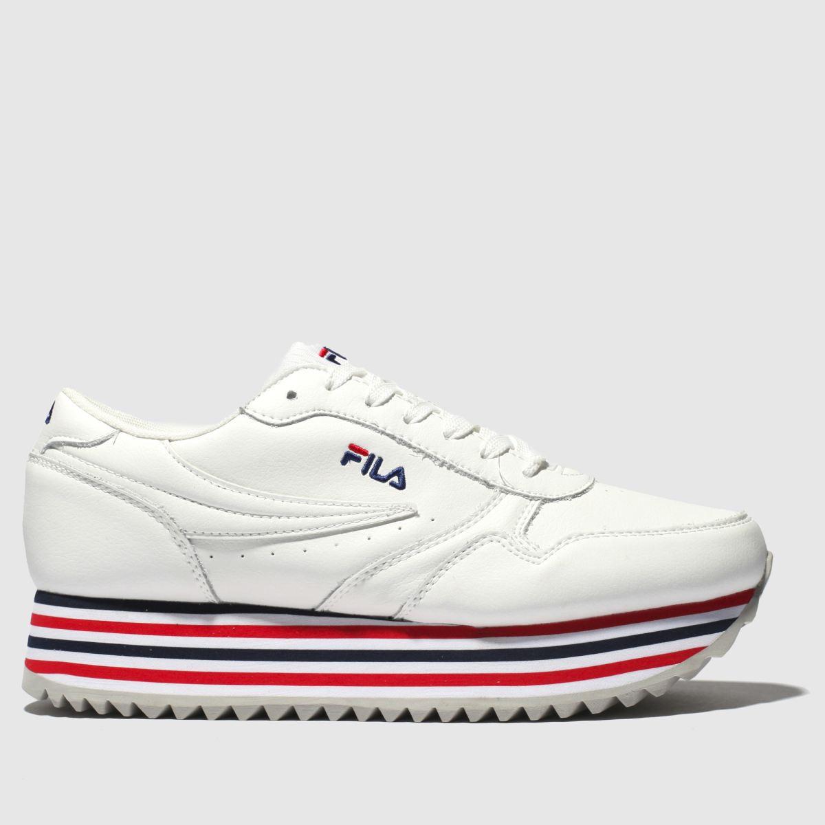 Children's Footwear Fila White & Navy Orbit Zeppa Trainers