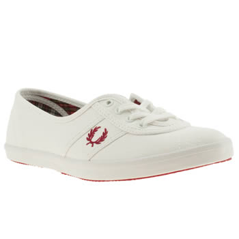 womens fred perry white & red aubrey ii trainers