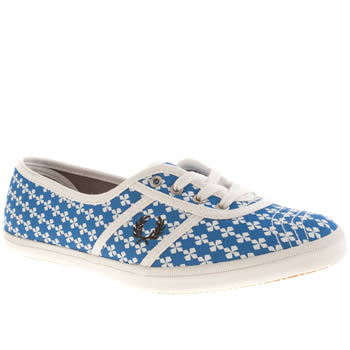 Womens Fred Perry White & Blue Aubrey Canvas Trainers