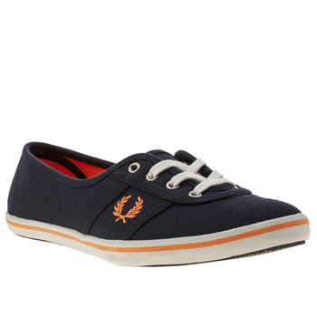 Womens Fred Perry Navy & Orange Aubrey Ii Canvas Trainers