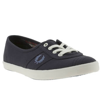 womens fred perry navy & white aubrey ii canvas trainers
