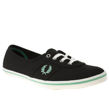 Womens Fred Perry Black & Green Aubrey Ii Canvas Trainers