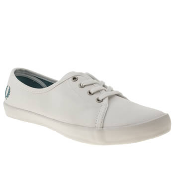 womens fred perry white & pl blue bell twill trainers