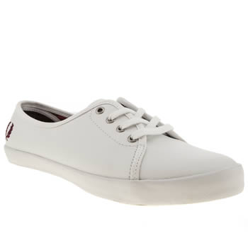 womens fred perry white & burgundy bell twill trainers