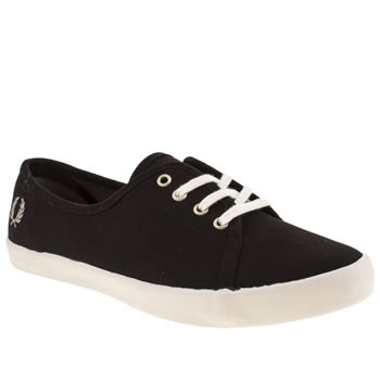womens fred perry black & grey bell twill trainers