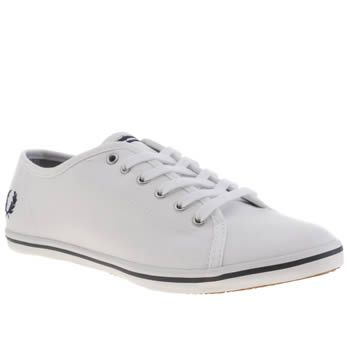 Womens Fred Perry White & Navy Phoenix Canvas Trainers
