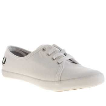 Fred Perry White & Black Bell Canvas Trainers