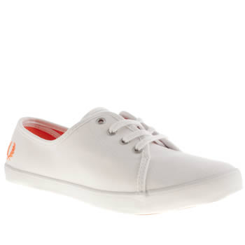 Womens Fred Perry White & Orange Bell Trainers