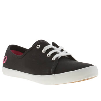 Womens Fred Perry Black & pink Bell Ii Trainers
