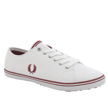 Womens Fred Perry White & Red Kingston Twill Trainers