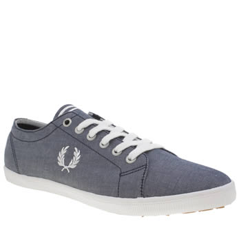 Fred Perry Navy & White Chambray Kingston Trainers