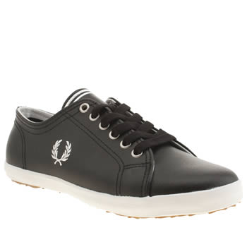 Womens Fred Perry Black & White Kingston Leather Trainers