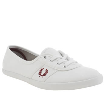 Womens Fred Perry White & Red Aubrey Twill Trainers