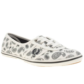 Fred Perry White & Navy Aubrey Paisley Trainers