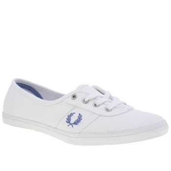 Womens Fred Perry White & Blue Aubrey Trainers