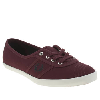 Womens Fred Perry Burgundy Aubrey Canvas Trainers