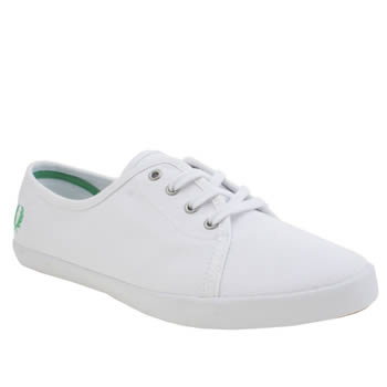 Fred Perry White & Green Bell Womens Trainers