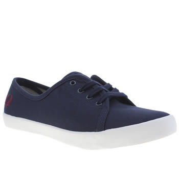 Fred Perry Navy & Red Bell Twill Trainers