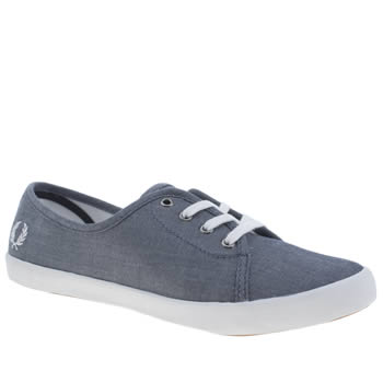 Fred Perry Navy & White Bell Chambray Trainers