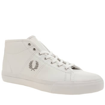 Fred Perry White & grey Haydon Mid Trainers