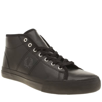 Fred Perry Black & Silver Haydon Mid Trainers