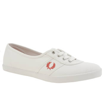 Womens Fred Perry White & Orange Aubrey Canvas Trainers
