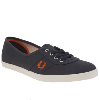 Fred Perry Navy & Orange Aubrey Trainers