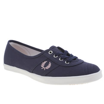Fred Perry Navy & White Aubrey Canvas Trainers