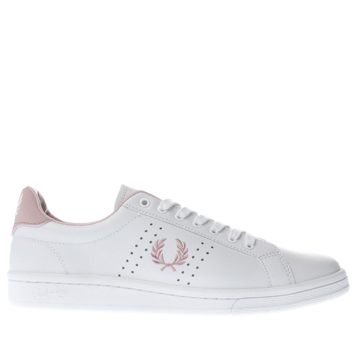 fred perry white & pink b721 leather trainers
