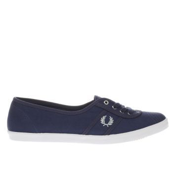 Fred Perry Navy & White Aubrey Twill Trainers