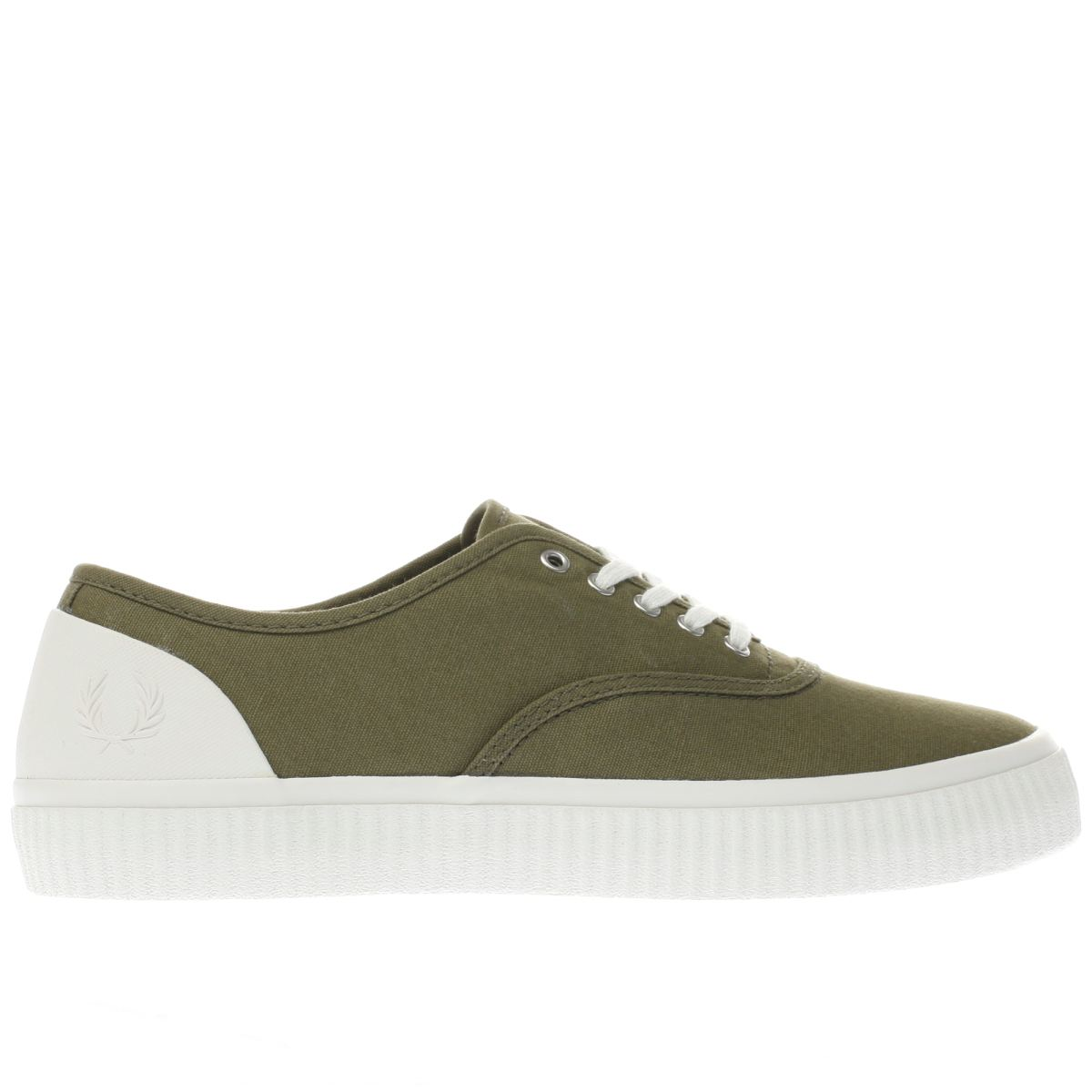 fred perry khaki barson canvas trainers