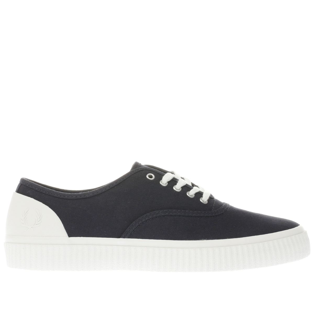 fred perry navy & white barson canvas trainers