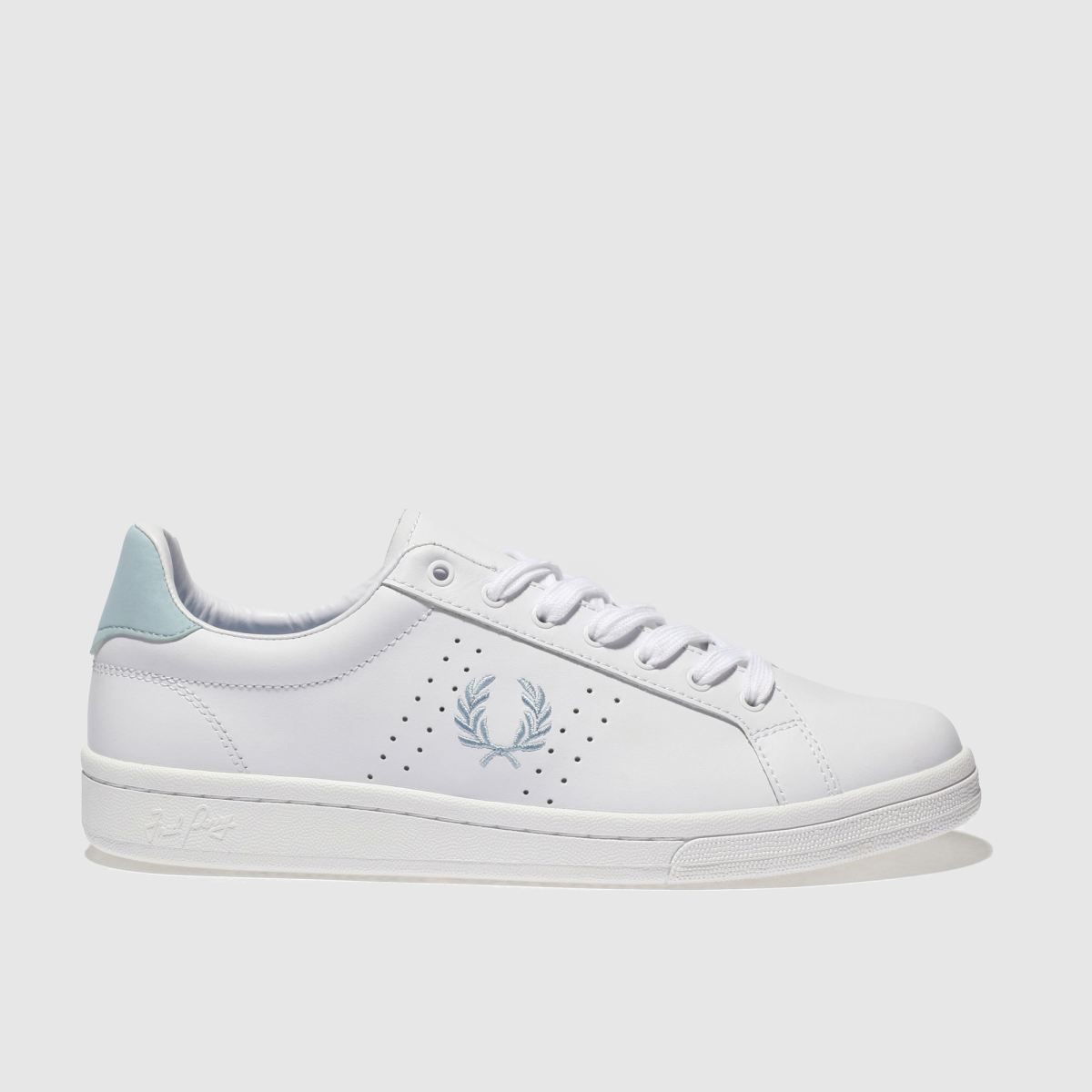Fred Perry White & Pl Blue B721 Leather Trainers