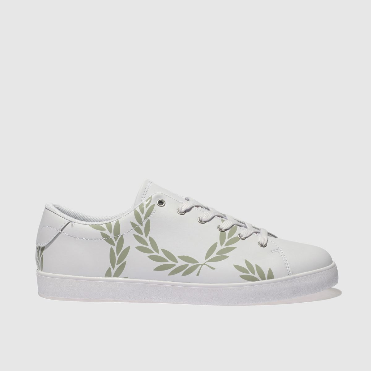 Fred Perry Fred Perry White & Green Lottie Printed Leather Trainers
