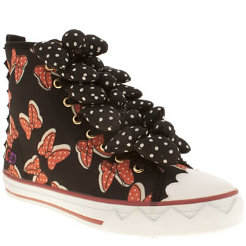Iced By Irregular Choice Black & Red Bow To Fly Trainers