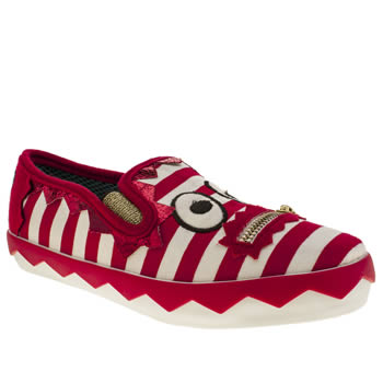Iced By Irregular Choice White & Red Stripey Mikey Trainers
