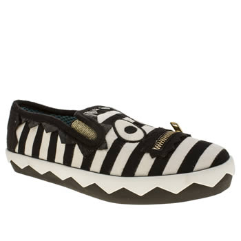 Iced By Irregular Choice Black & White Stripey Mikey Trainers