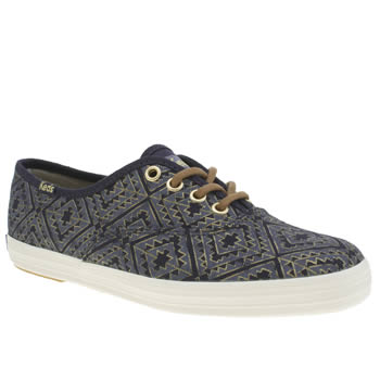 Keds Navy & Gold Champion Lace Aztec Metallic Trainers