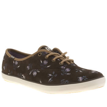 Womens Keds Brown Champion Lace Floral Trainers
