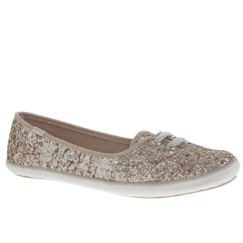 Womens Keds Gold Teacup Glitter Trainers