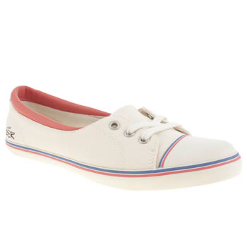 womens lacoste white & pink rohini trainers