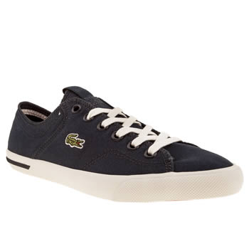 womens lacoste navy & white ramer canvas trainers