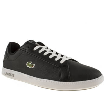 womens lacoste black & white graduate trainers