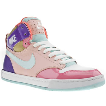 womens nike white & pink air royalty hi trainers