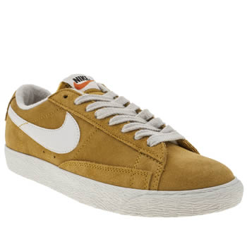 womens nike yellow blazer low suede trainers