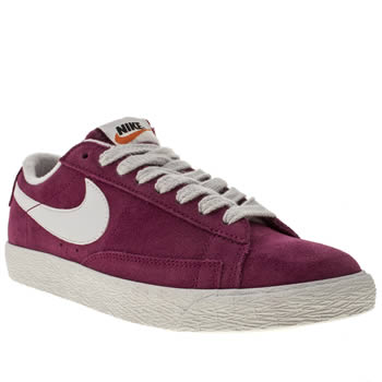 womens nike pink blazer low suede trainers