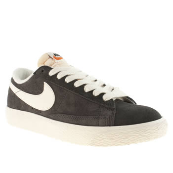 womens nike dark grey blazer low suede trainers
