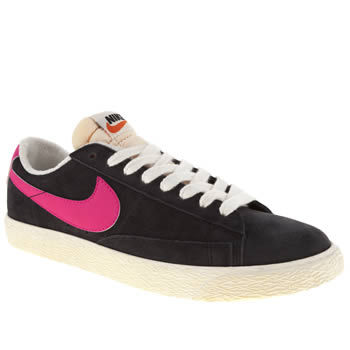 womens nike black & pink blazer low suede trainers