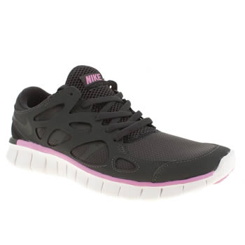 womens nike black & pink free run 2 trainers