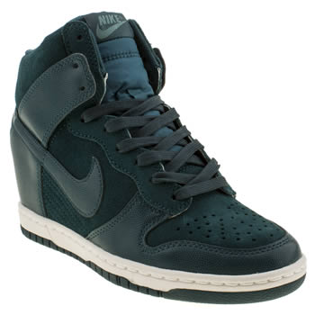 womens nike navy & green dunk sky high ii trainers